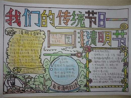 清明节手抄报图片三年级